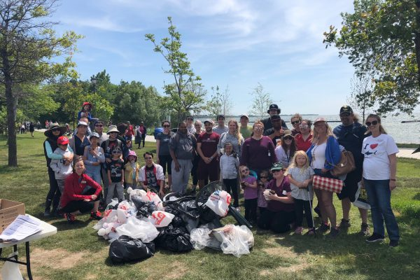 shoreline cleanup group photo