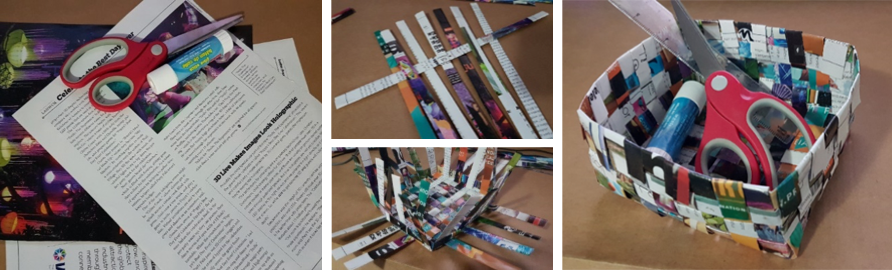 Image of Newspaper and magazines being used ot create a small basket